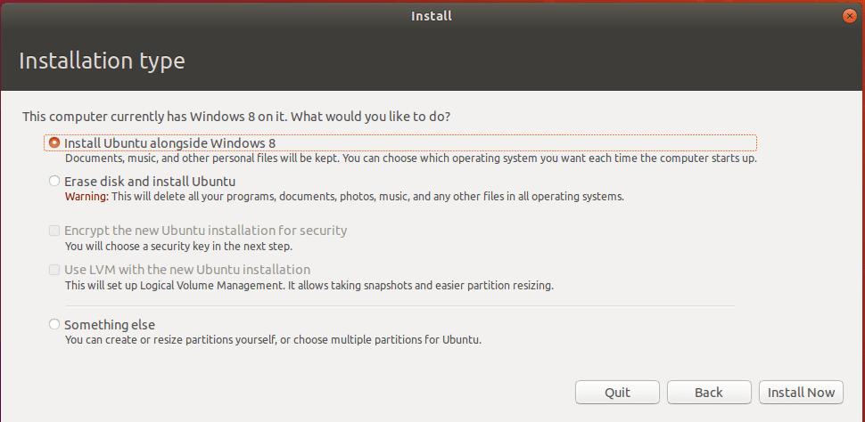 installing ubuntu dual boot