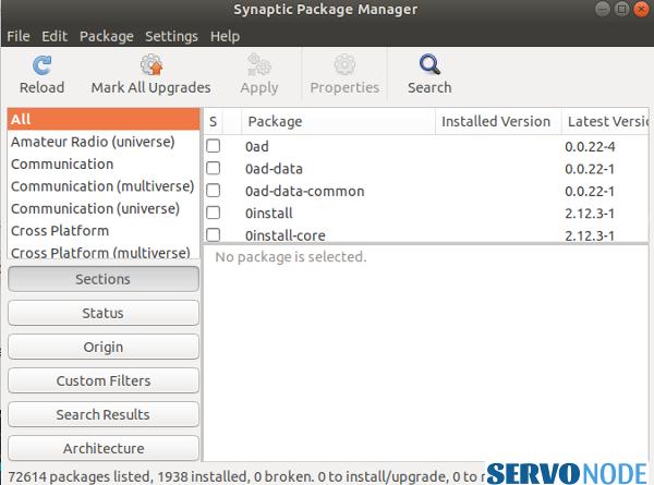 Synaptic package manager on ubuntu
