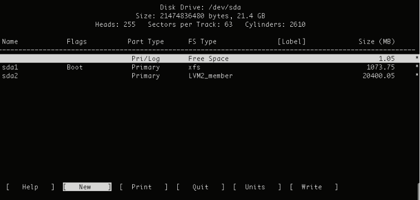 cfdisk command in Linux