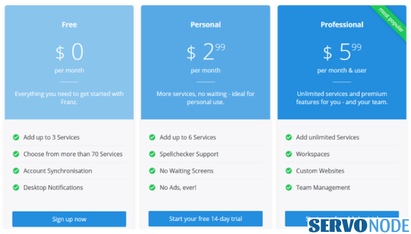 franz messaging app features and pricing