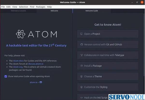 install atom text editor on fedora
