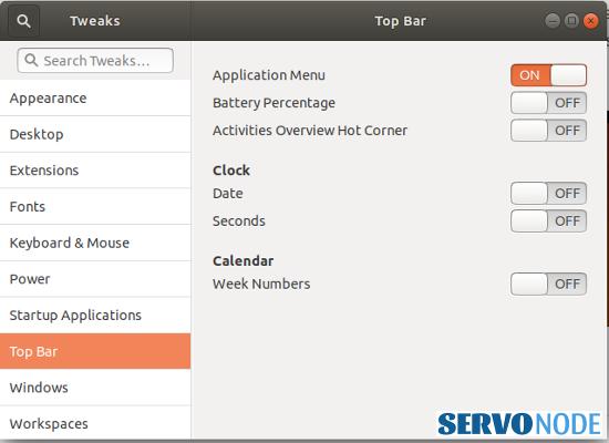 customizing top bar