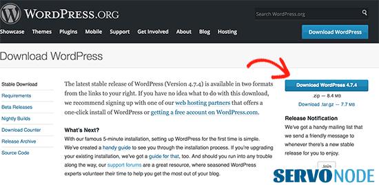 download wordpress core files