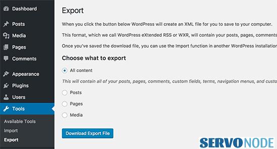 export wp contents